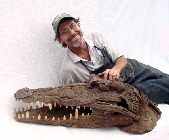 Tony-with-crocodile driftwood sculpture